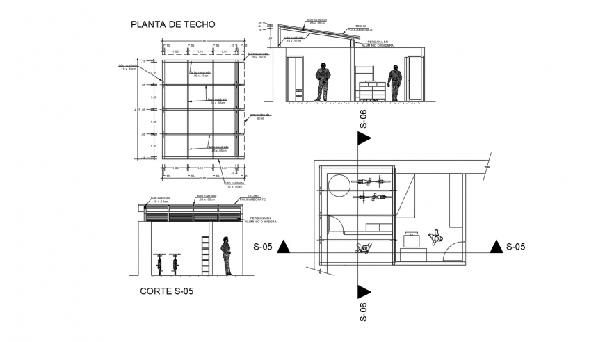 Ceiling area plan and section view with construction view dwg file