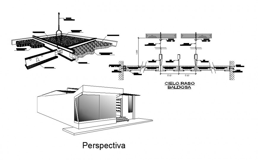 Ceiling construction, boutique isometric elevation and auto-cad details of store dwg file