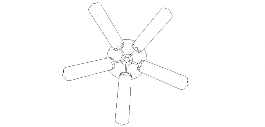 Ceiling fan design with a view of household design dwg file