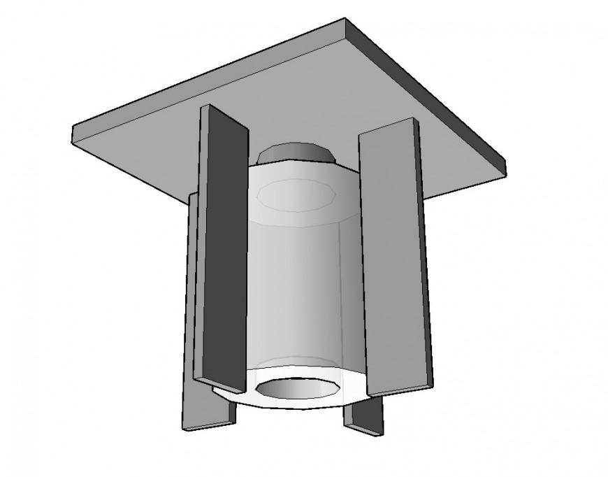 Ceiling light detail 3d model layout CAD blocks sketch-up file
