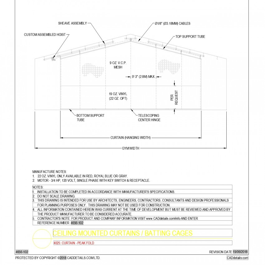 Ceiling mounted curtains and batting cages autoad file