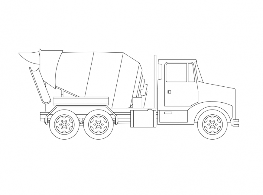 Cement truck vehicle side view elevation cad block design dwg file