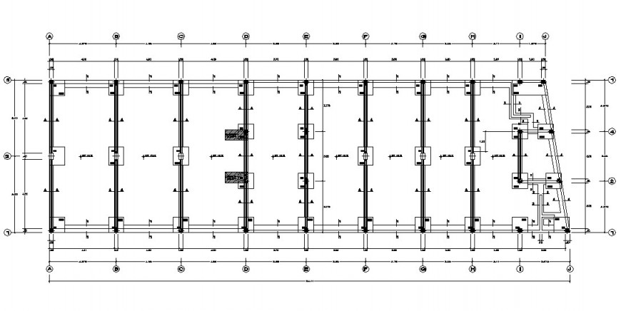 Cementation plan with detail of column position in floor for shopping Centre in auto cad