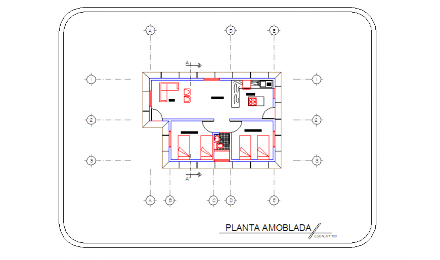 Center line layout of Duplex type country house design drawing