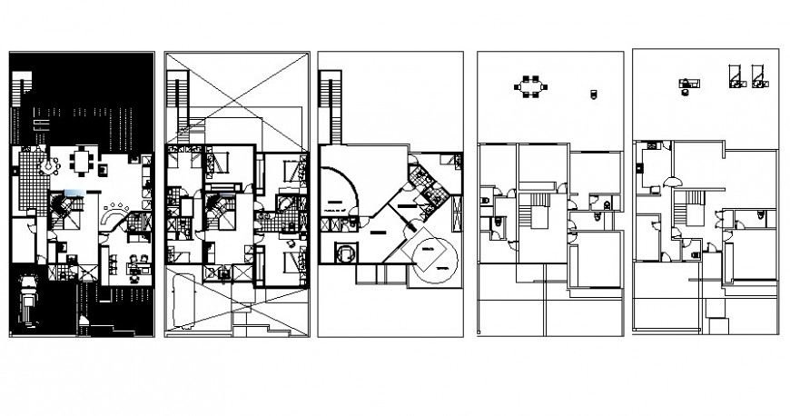 Center line work plan of building apartment 2d view autocad file