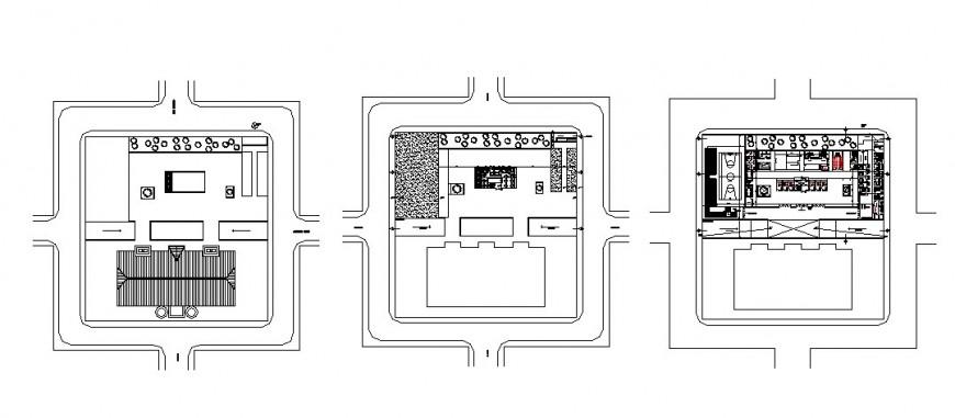 Center of communal participation building floor plan cad drawing details dwg file