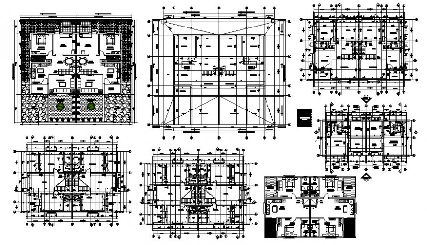Centerline plan of housing apartments drawings 2d view autocad software file