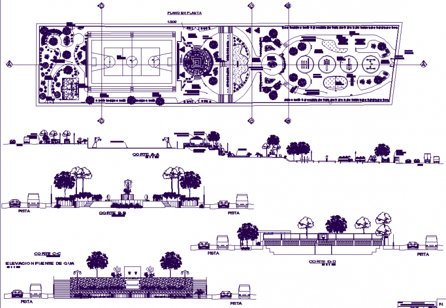 Central garden drawing in rvt file.