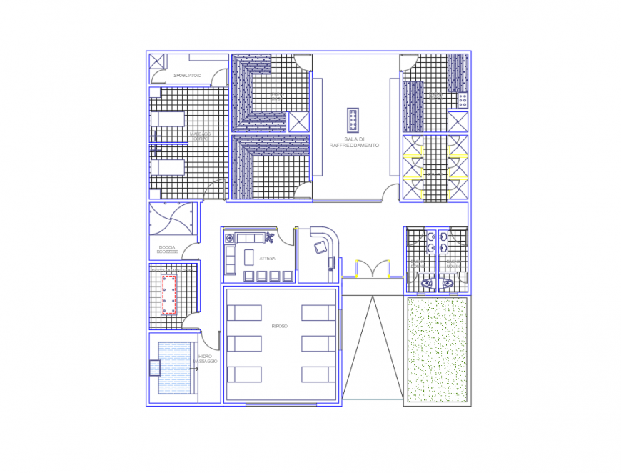 Central health clinic layout plan cad drawing details dwg file