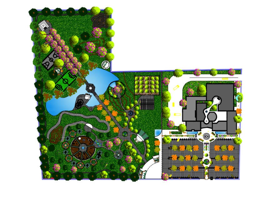 Central theme adventure park landscaping and structure plan details dwg file