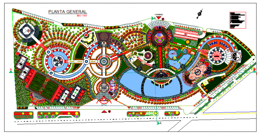 Central theme park landscaping and general plan cad drawing details dwg file