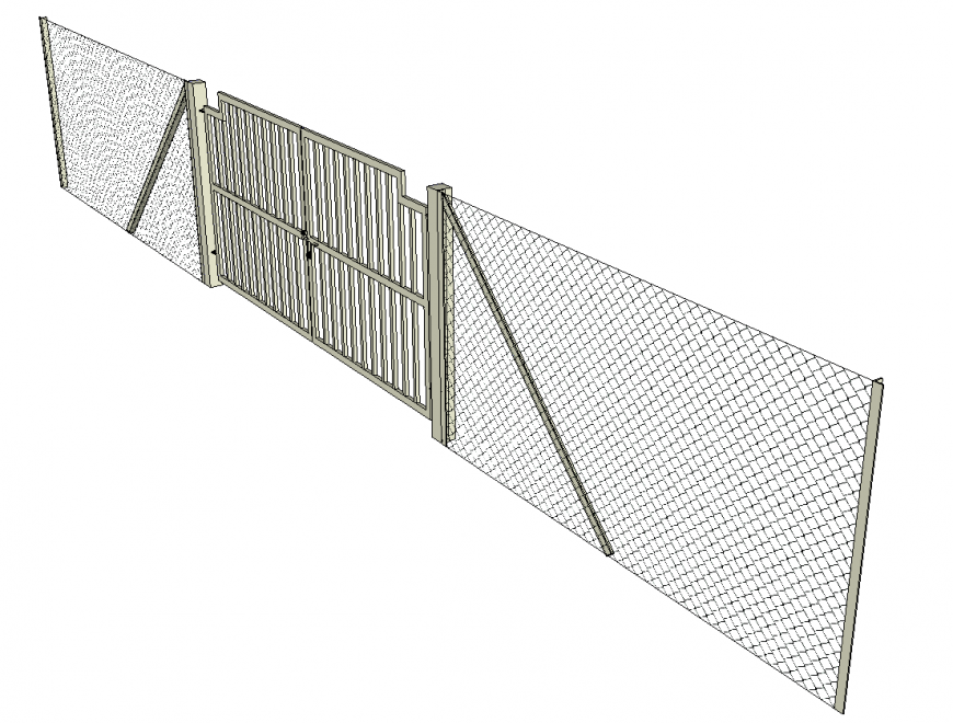 Chain link fence and gate detail elevation 3d model sketch-up file