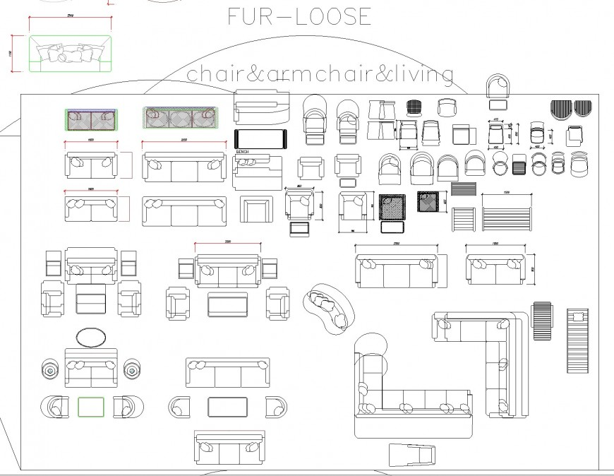 Chair, armchair and living room furniture plan