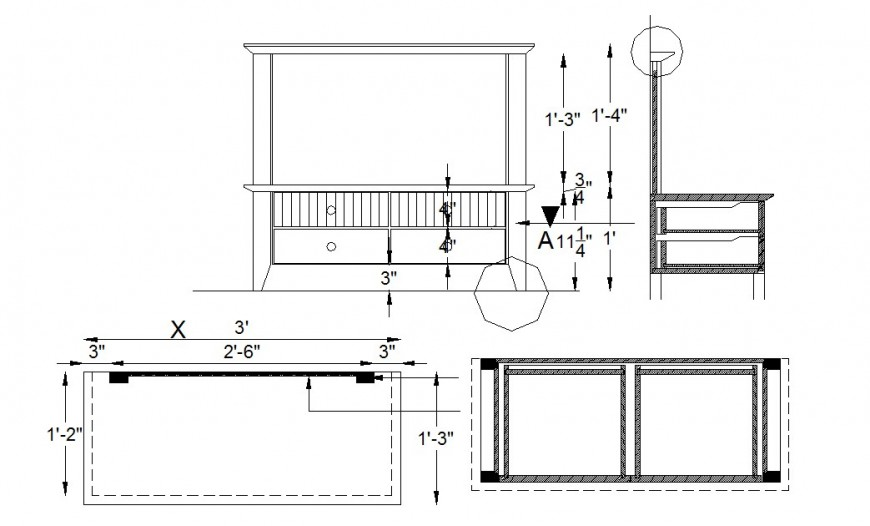 Chair and table elevation, section and plan cad drawing details dwg file