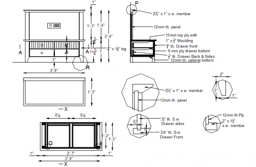 Chair and table of bedroom elevation, section and carpentry details dwg file