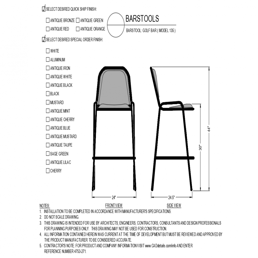 Chair design with front and side view for model of golf bar dwg file