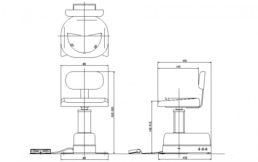 Chair detail elevation 2d drawing of furniture block dwg file