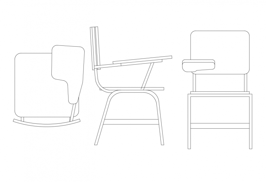 Chair plan elevation and side view with furniture block in auto cad file