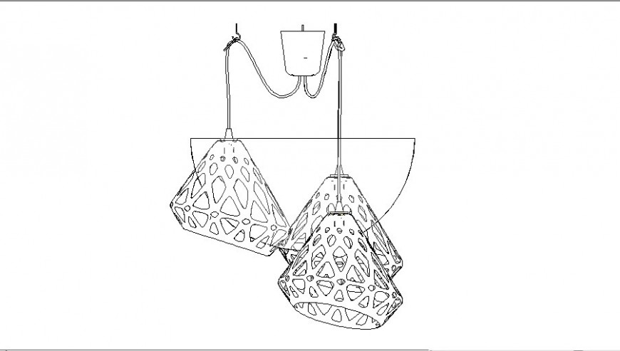 Chandelier light detail 2d view CAD block layout file in autocad format