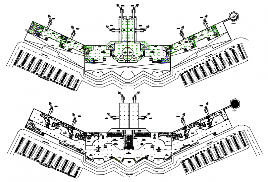 Chi-more international airport floor distribution and landscaping structure details dwg file
