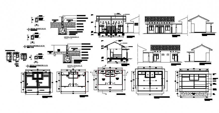 Child care clinic elevation, section and plan cad drawing details dwg file