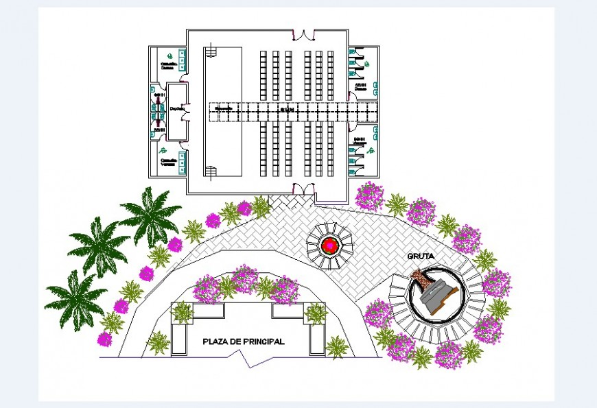Child care school main elevation and distribution plan drawing details dwg file