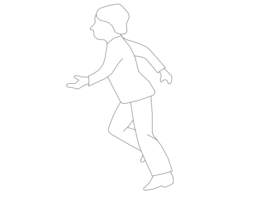 Child walking people act block cad drawing details dwg file