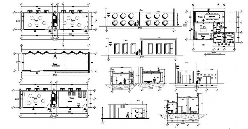 Children's garden elevation, section, plan and landscaping details dwg file