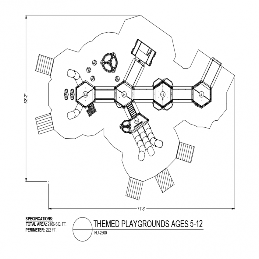 Children 5 to 12 years themed playground plan dwg file