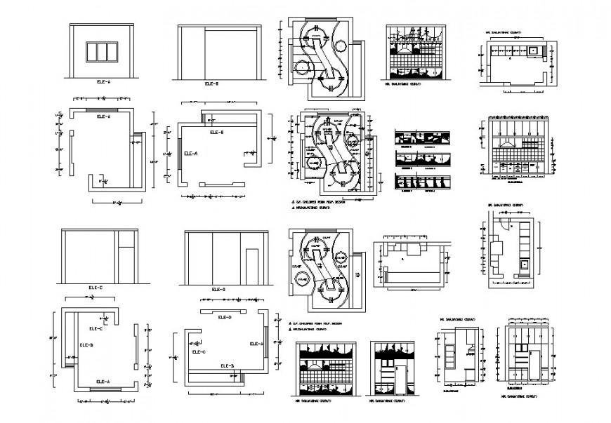 Children bedroom ceiling plan and furniture cad drawing details dwg file