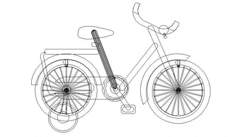 Children bicycle 2d drawing in AutoCAD file.