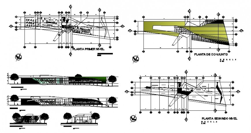 Children pavilion-art reading themes school elevation and section drawing details dwg file