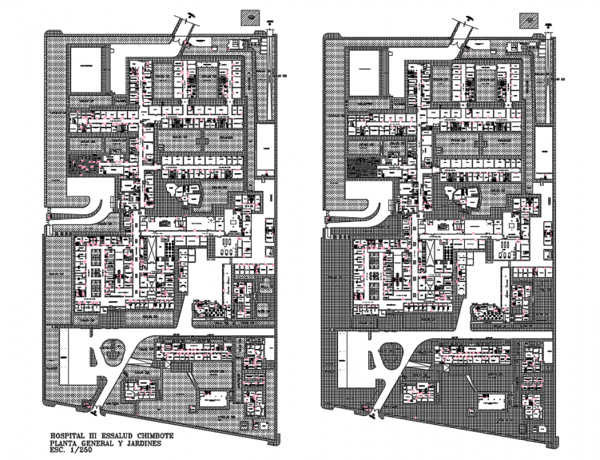 Chimbot multi-level hospital general plan and garden details with layout plan dwg file