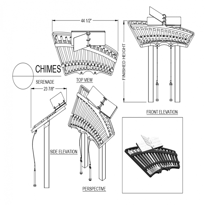 Chimes serenade top,side and front view with perspective view dwg file