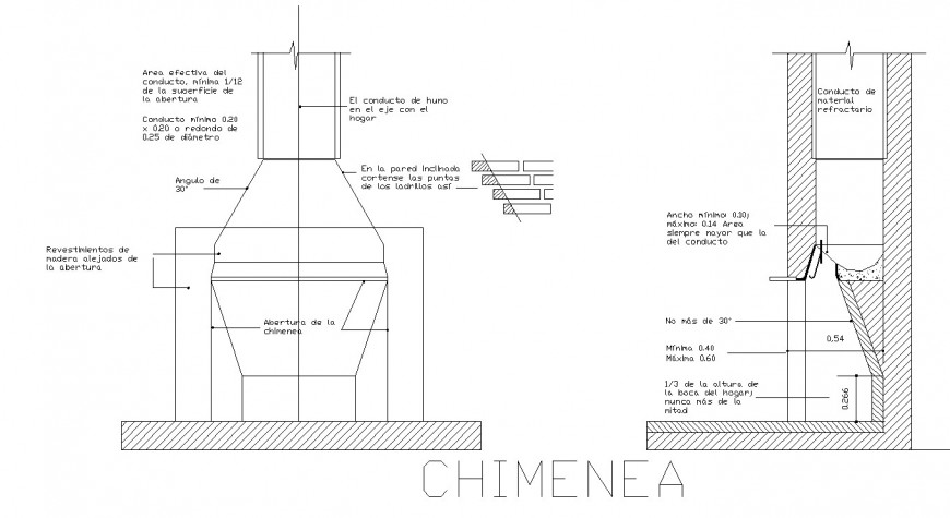 Chimney elevation and section drawing in dwg file.
