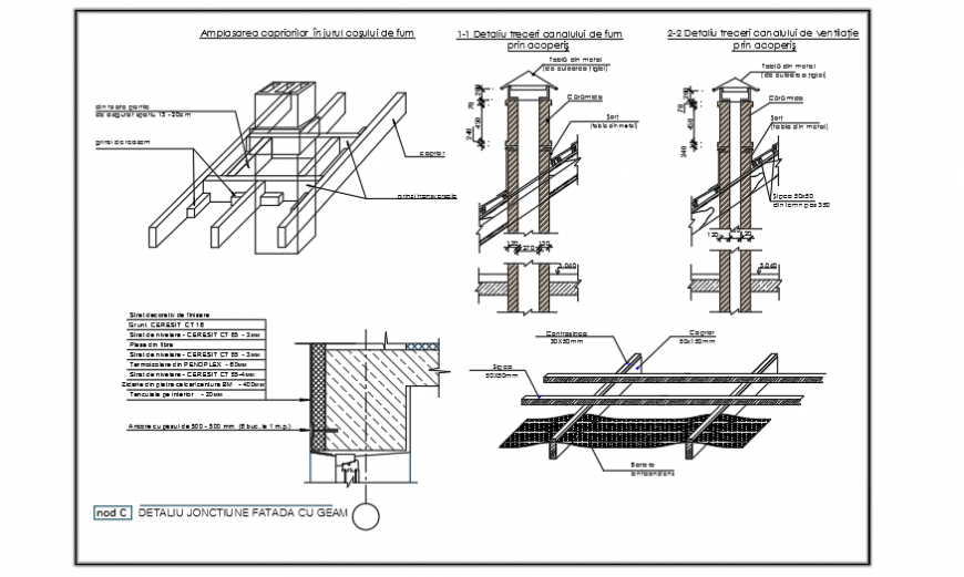 Chimney installation section design drawings of 2storey house design