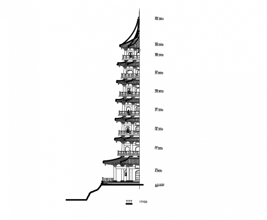 China ancient tower front cut elevation cad drawings details dwg file