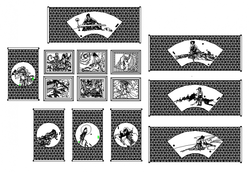 Chinese home decorative paintings blocks design cad drawing details dwg file