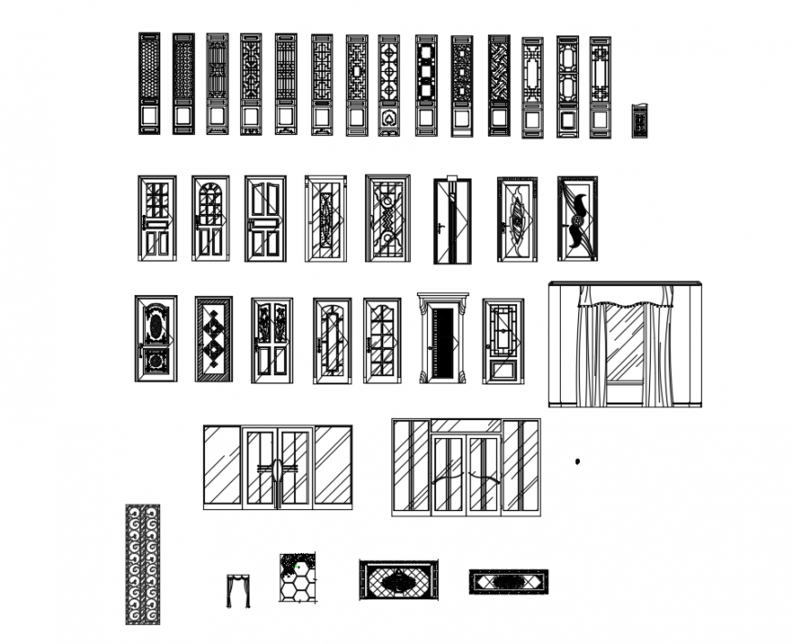 Chinese style multiple door elevations cad blocks details dwg file