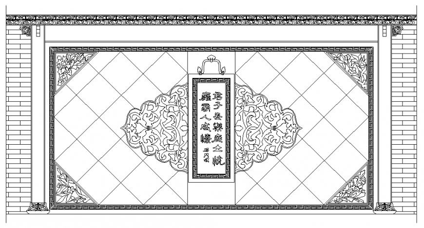 Chinese wall decorative interior block cad drawing details dwg file