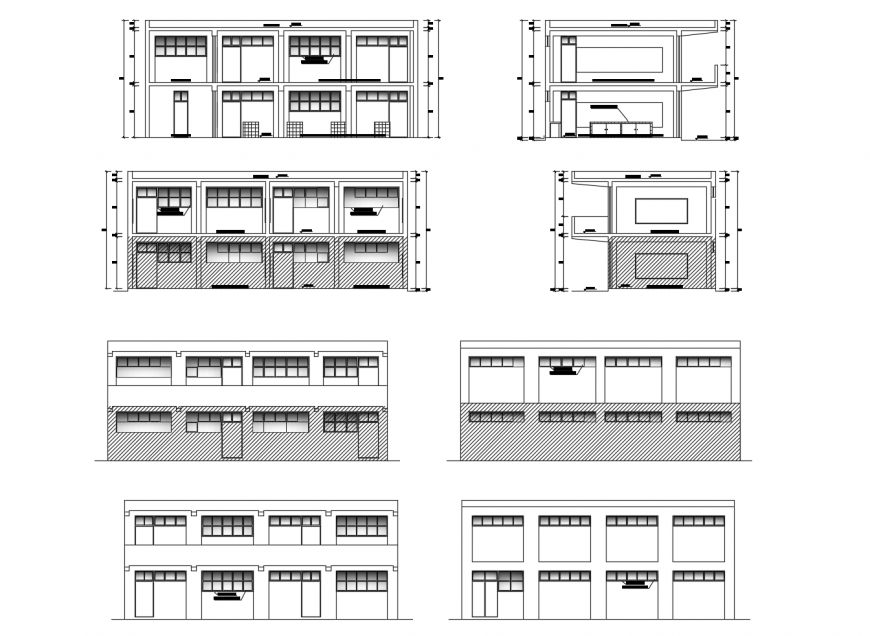 Christian school all sided elevation and section drawing details dwg file