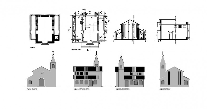 Church building elevation plan and section 2d view autocad file