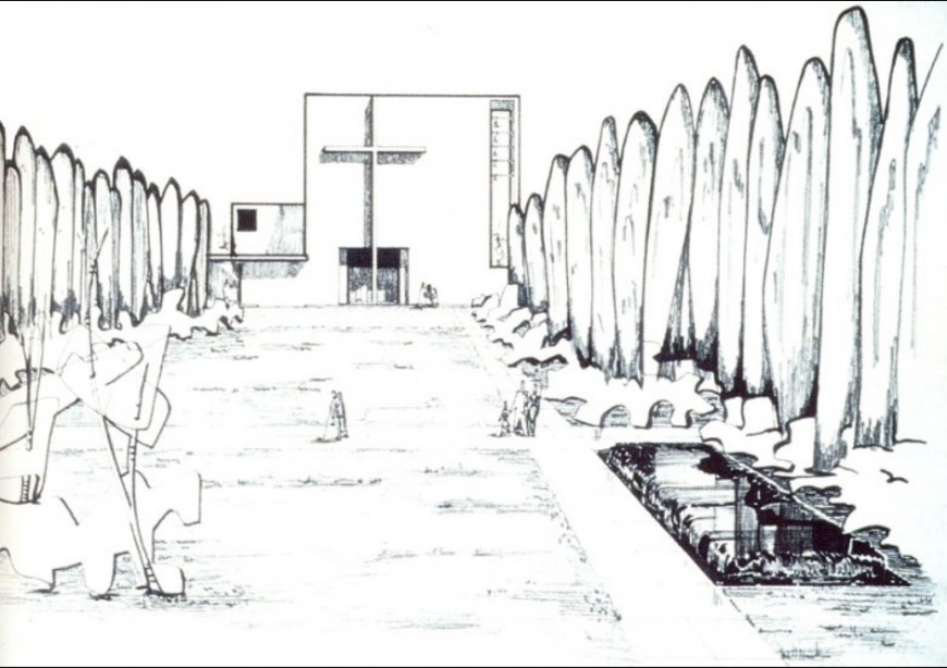Church detail with landscaping detail sketch detail