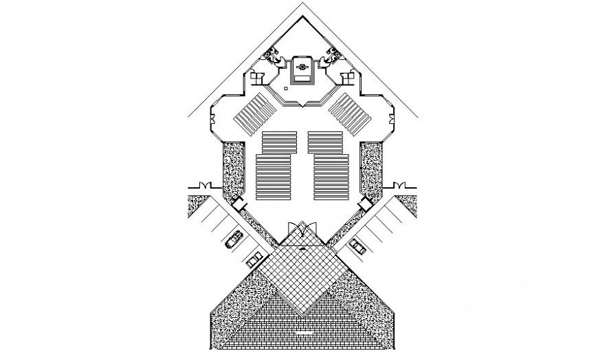 Church distribution and landscaping structure drawing details dwg file