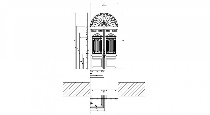 Church door main elevation cad drawing details dwg file