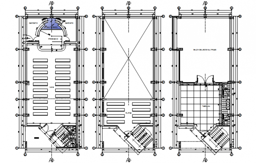 Church three floor distribution plan cad drawing details dwg file