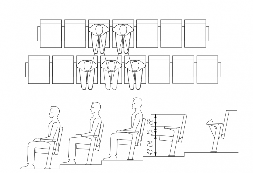 Cinema detail , seat detailing, recliner detail dwg file