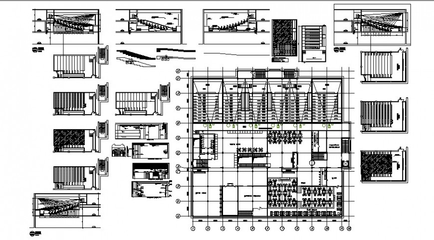 Cinema hall building details 2d view drawing layout autocad file