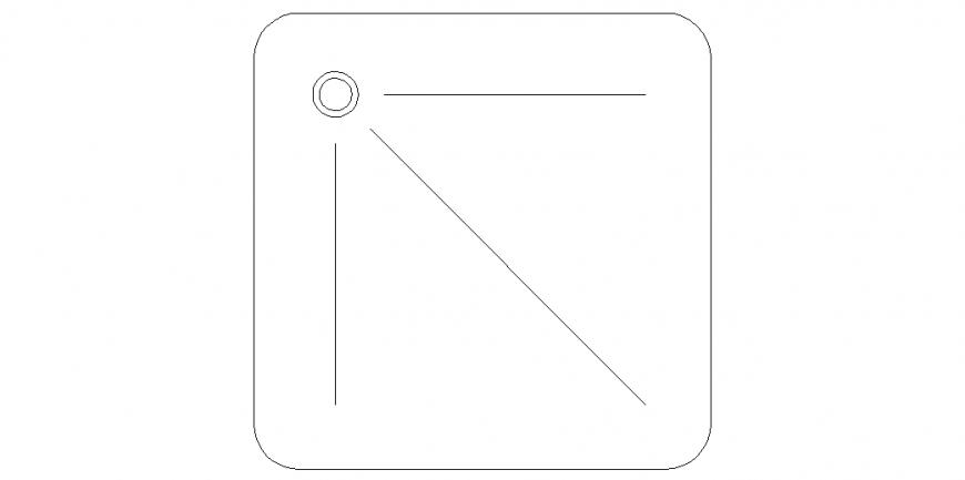 Circular corner of the rectangular design with water line dwg file