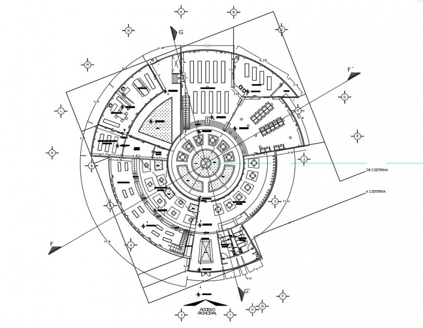 Circular floor distribution plan details for school building dwg file